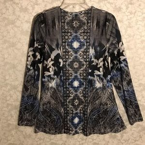 World Unity Tops - World Unity brand blouse with v-neck blue, black